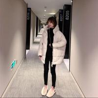 羽绒服女中长款加厚面包服女学生韩版宽松2019冬季连帽外套 S 80-130斤