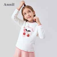 【2件3折价:80.7】专柜同款安奈儿女童卫衣2020秋装新款女大童上衣儿童甜美印花樱桃时套头衫
