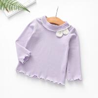 女童长袖打底衫春装2019新品儿童木耳边上衣可爱女宝宝兔耳朵T恤 紫色 预售30天发货