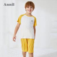 【限时秒杀】安奈儿童装男童睡衣套装2020夏季新款莫代尔男童短袖家居服套装