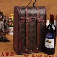 红酒盒葡萄酒盒经典木盒木质包装盒 酒红色 格子款