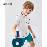 安奈儿童装男童POLO衫短袖2020新款洋气翻领纯棉潮童男生T恤夏季m