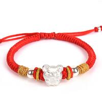 手链女老鼠转运珠红绳编织属相纯银十二生肖吉祥结手绳