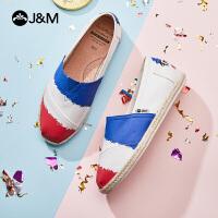 jm快乐玛丽布鞋2021夏季新款平底套脚一脚蹬休闲平底女帆布鞋