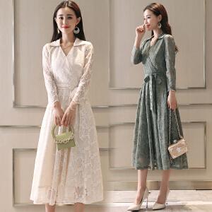 RANJU然聚2018秋季女装新品新款韩版过膝蕾丝连衣裙长袖修身显瘦中长款气质立领长裙