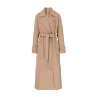 伊芙丽翻领一粒扣长袖中长款小香风大衣