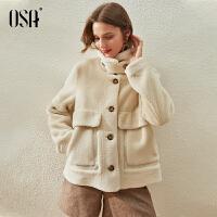 【3折折后价:339元】OSA欧莎皮毛一体毛呢外套女春秋2021年新款气质羊羔毛小个子短款大衣