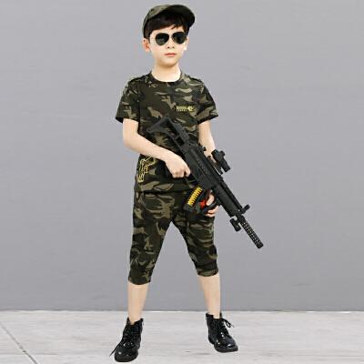 六一儿童迷彩服演出服套装男女童幼儿园夏令营军装军训服短袖夏装 迷彩服 不含帽子 160码身高150cm左右小孩穿 发货周期:一般在付款后2-90天左右发货,具体发货时间请以与客服协商的时间为准