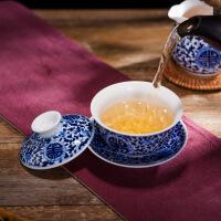 景德镇陶瓷手绘茶具套装青花瓷家用功夫茶具盖碗茶杯整套泡茶器 手绘万寿无疆8头茶具
