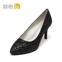 Daphne/达芙妮旗下鞋柜 秋季浅口优雅套脚细跟高跟鞋女性感尖头印花婚鞋单鞋