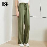 【3件6.5折】⑩OSA欧莎2019夏装新款女装时尚系带宽松阔腿休闲裤