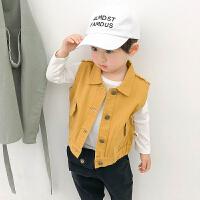 宝宝马甲春装新款纯色牛仔衣婴儿背心男童洋气韩版上衣儿童衣服潮 黄色 73cm