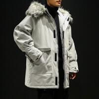 冬季新款毛领连帽棉衣男士韩版中长款棉服潮流冬天棉袄外套男
