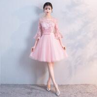 伴娘服2018春季新款韩版伴娘礼服短款姐妹裙粉色小礼服修身显瘦女