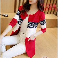秋冬季女装韩版宽松大码针织开衫中长款秋冬长袖外搭毛衣外套