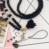 新品韩国珍珠水晶手机挂绳挂脖绳钥匙绳子挂脖手机链挂件女款长短