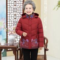 中老年妈妈冬装棉衣女2019老年连帽休闲保暖奶奶外套