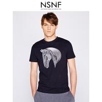 NSNF线形马头图案纯棉圆领黑色T恤男 短袖t恤男装2017新款 修身针织潮牌
