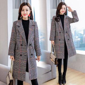 格子毛呢外套女中长款2018秋冬新款韩版厚显瘦呢子大衣