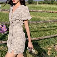 套装女夏学生森系韩版简约绑带设计V领短袖衬衣高臀裙两件套