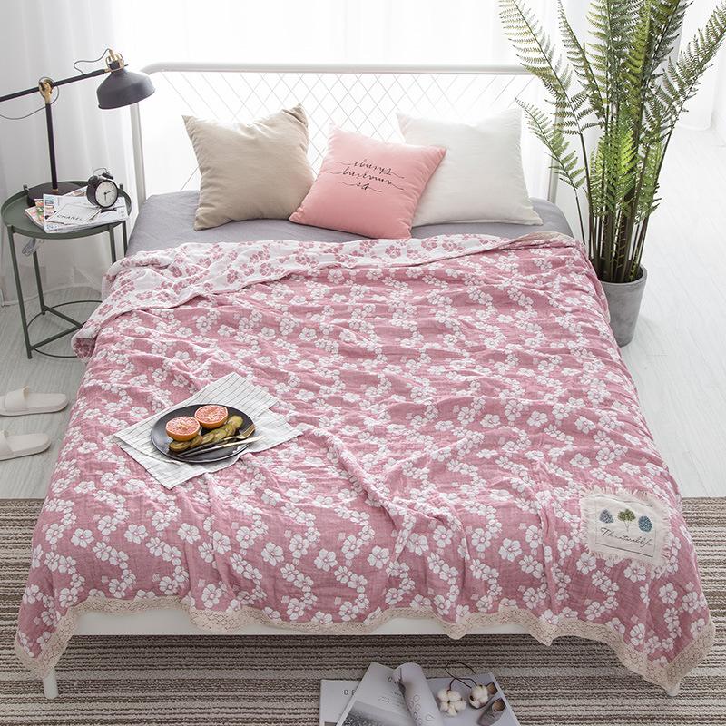 夏季纯棉四层纱布毛巾被子单人双人加厚盖毯空调毯子婴儿童毛毯薄  200cmX230cm双人