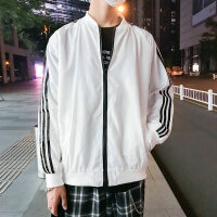 条纹运动夹克男士春秋季帅气棒球服白色外衣韩版修身潮流外套