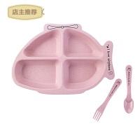 卡通造型餐盘家用餐具套装 小麦分格盘幼儿园宝宝饭盘碗勺叉SN6985