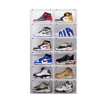 推拉鞋盒 侧开门篮球鞋收纳盒高帮透明磁铁吸门鞋盒AJ乔丹收藏防氧化展示盒 36x28x22cm