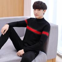 秋冬季毛衣男韩版修身男士半高领针织衫潮流青年羊毛衫薄学生线衣 黑色 987