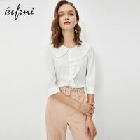 伊芙丽衬衫女设计感小众上衣2020新款春装宽松职业雪纺白色衬衣女