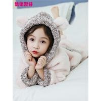 女童睡衣法兰绒儿童加厚款秋冬季小孩中大童宝宝家居服珊瑚绒套装