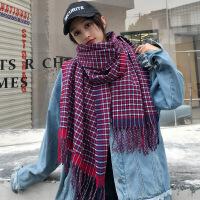 韩版秋冬天格子仿羊绒加长保暖围巾女加厚大披肩双面百搭学生围脖
