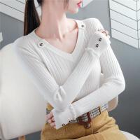 V领毛衣女秋冬韩版外穿长袖纽扣木耳边针织打底衫内搭上衣女
