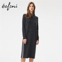 伊芙丽羊毛修身显瘦圆领长袖针织连衣裙1A7990171Q