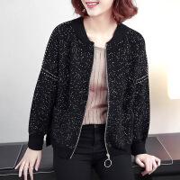 新女士外套主推 2018春装新款女装外套韩版时尚宽松百搭短款波点棒球服 黑色