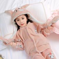 儿童珊瑚绒睡衣女童法兰绒秋冬季加厚女大童小女孩家居服套装保暖