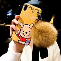 iphone x手机壳7plus可爱小熊苹果8plus挂绳xsmax软壳xr网红6s女8