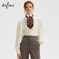 伊芙丽新款设计感小众长袖上衣女泡泡袖法式衬衣女1AA520581R