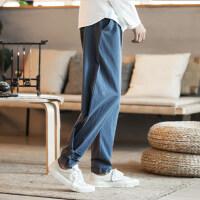 亚麻休闲长裤男士中国风宽松哈伦裤大码束脚运动九分裤男灯笼裤子