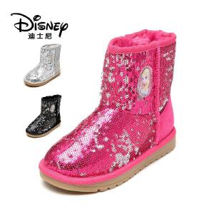 鞋柜/迪士尼御寒保暖女童鞋精美亮片雪地靴低筒靴