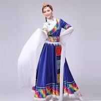 新款藏族舞蹈服装演出服女藏族水袖服饰少数民族舞蹈服装女吉祥谣 蓝色 S