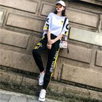 【新品特惠】 嘻哈运动套装女潮酷2019夏季新款宽松洋气t恤帅气时尚休闲两件套 两件套