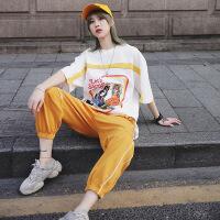 【新品特惠】 嘻哈运动套装女潮洋气休闲帅气两件套潮牌网红工装酷女孩穿搭夏季 白色