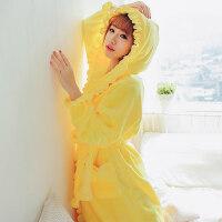 法兰绒睡袍女女士秋冬季珊瑚绒浴袍加厚居家居服加大码睡衣