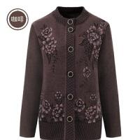 中老年人秋冬装女毛衣开衫加厚外套40-70岁妈妈装加绒针织衫衣服