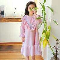 女童睡裙秋冬季儿童睡衣秋季法兰绒宝宝女孩珊瑚绒加厚长袖连衣裙