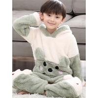 宝宝睡衣珊瑚绒秋冬季男童法兰绒家居服中大童小男孩套装