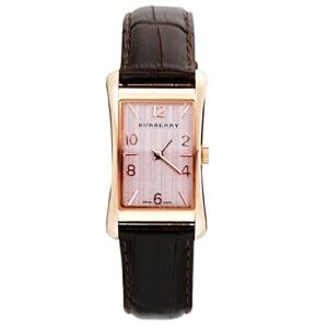 巴宝莉(BURBERRY) 复古休闲方形棕色皮带 玫瑰金色优雅时尚石英情侣男士女士手表BU3000/BU3001