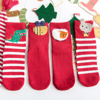 新款秋冬儿童袜子本命年大红礼盒全棉卡通男女学生中筒袜