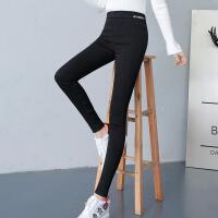 休闲裤女2019秋冬加绒小脚裤高腰弹力铅笔裤显瘦松紧腰 S 85-100斤